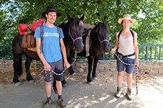 Mann und Frau mit Pferden